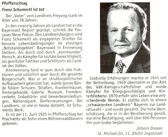 Autorem jeho nekrologu na stránkách krajanského měsíčníku se stal Johann Draxler