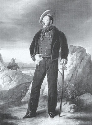 """Ze sbírek zámku Orlík nad Vltavou pochází jeho portrét, který uvádíme v černoblílé reprodukci, je dílem Antona Haaly a zachycuje """"lancknechta"""" v karlistické uniformě"""