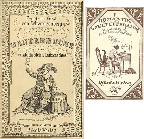 Obálka nového vydání jeho knihy nakladatelstvím Rikola ve Vídni roku 1925 v edici, kterou řídil Franz Karl Ginzkey a kde se ocitla vedle děl Bettiny von Arnim, Prospera Mérimée, E.T.A. Hofmanna, A.S.Puškina či Julia Zeyera