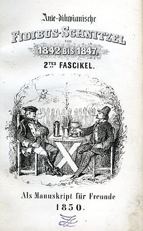 """Obálka jednoho ze svazků jeho Předpotopních ústřižků fidibusů, vytištěného """"jako rukopis pro přátele"""" roku 1850"""