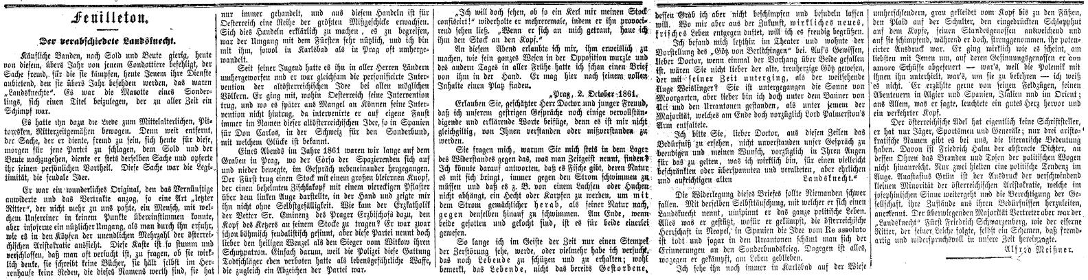 """O významu lancknechtově svědčí výmluvně i další nekrolog, který """"pod čarou"""" zveřejnil na prvé a druhé straně vídeňského listu """"Die Presse"""" 16. března roku 1870 Alfred Meissner"""