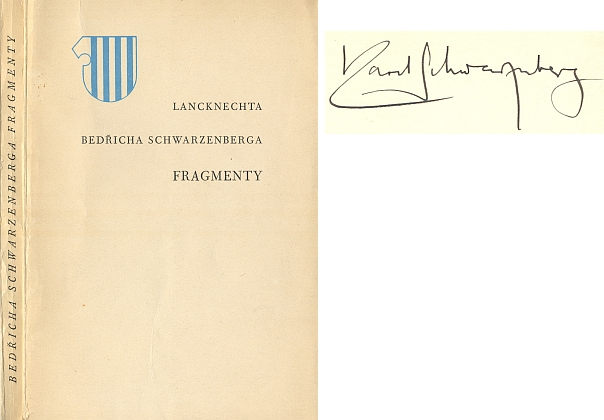 Obálka a titulní list (1934) výboru z jeho díla, který pořídil Karel Schwarzenberg, na patitulu výtisku z fondu Jihočeské vědecké knihovny i podepsaný (vydalo v Praze nakladatelství Řád)