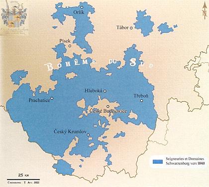 Schwarzenberské panství v jižních Čechách kolem roku 1840