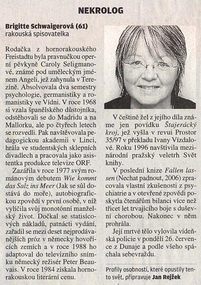"""Nekrolog na stránce """"Lidé"""" listu Lidové noviny"""