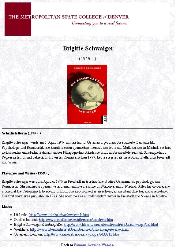 Její stránky na americkém universitním serveru Famous German Woman