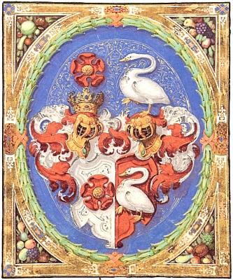 Aliance rožmberské růže a švamberské labutě v erbu Jana Jiřího zeŠvamberka, která mu udělil v roce 1914 král Matyáš...