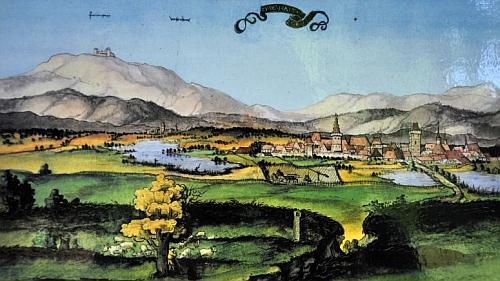 Švamberské město Bor s hradem (vyobrazení z tzv. Würzburského alba, datovaného do let 1536-1537)