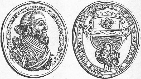 Pamětní medaile, vydaná k úmrtí Petra Voka z Rožmberka, na níž je pod znakem Rožmberků zobrazena i švamberská labuť