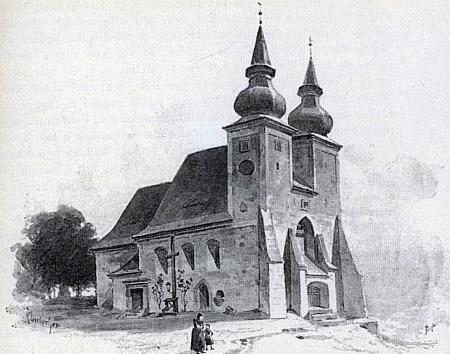 Kostel Nanebevzetí Panny Marie v Poběžovicích, skrývající švamberskou hrobku - vyobrazené od Karla Liebschera vlevo zachycuje původní dvojvěží (před rokem 1902)