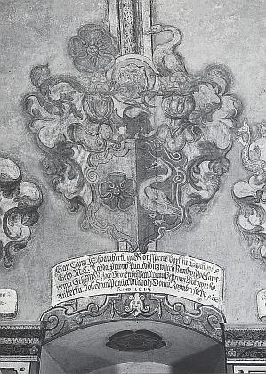 ... a zobrazení jeho erbu ve dvořanské světnici zámku v Třeboni