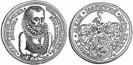 Pamětní mince s jeho portrétem a erbem