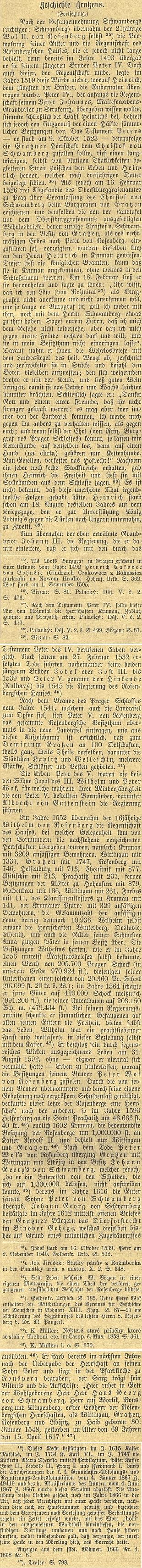 Závěr textu  Karla Köpla na strankách českobudějovického německého listu z cyklu ohistorii Nových Hradů