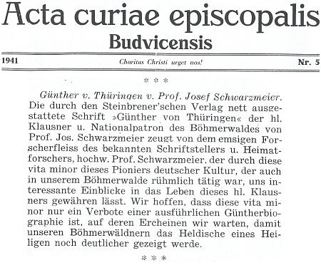 """Německá informace o vydání jeho knihy o """"Vintíři Durynském, národním patronu Šumavy"""" u Steinbrenerů ve Vimperku"""