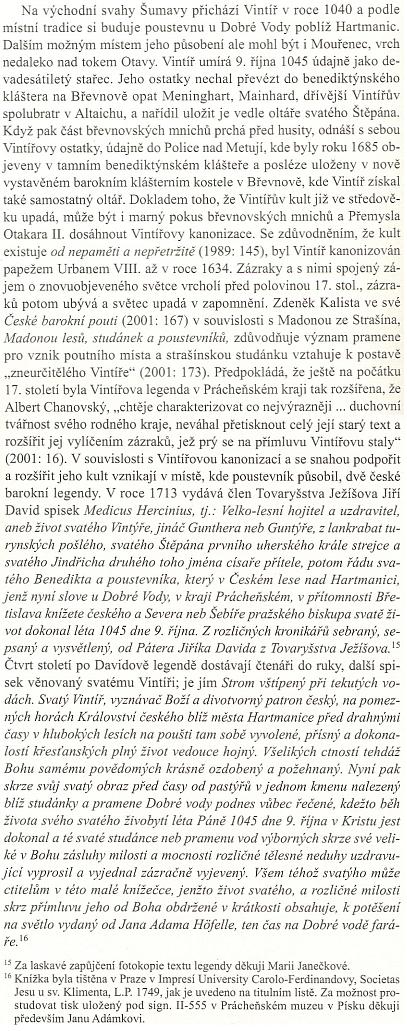 O dvou českých barokních legendách v souvislosti s Vintířovou kanonizací v roce 1634