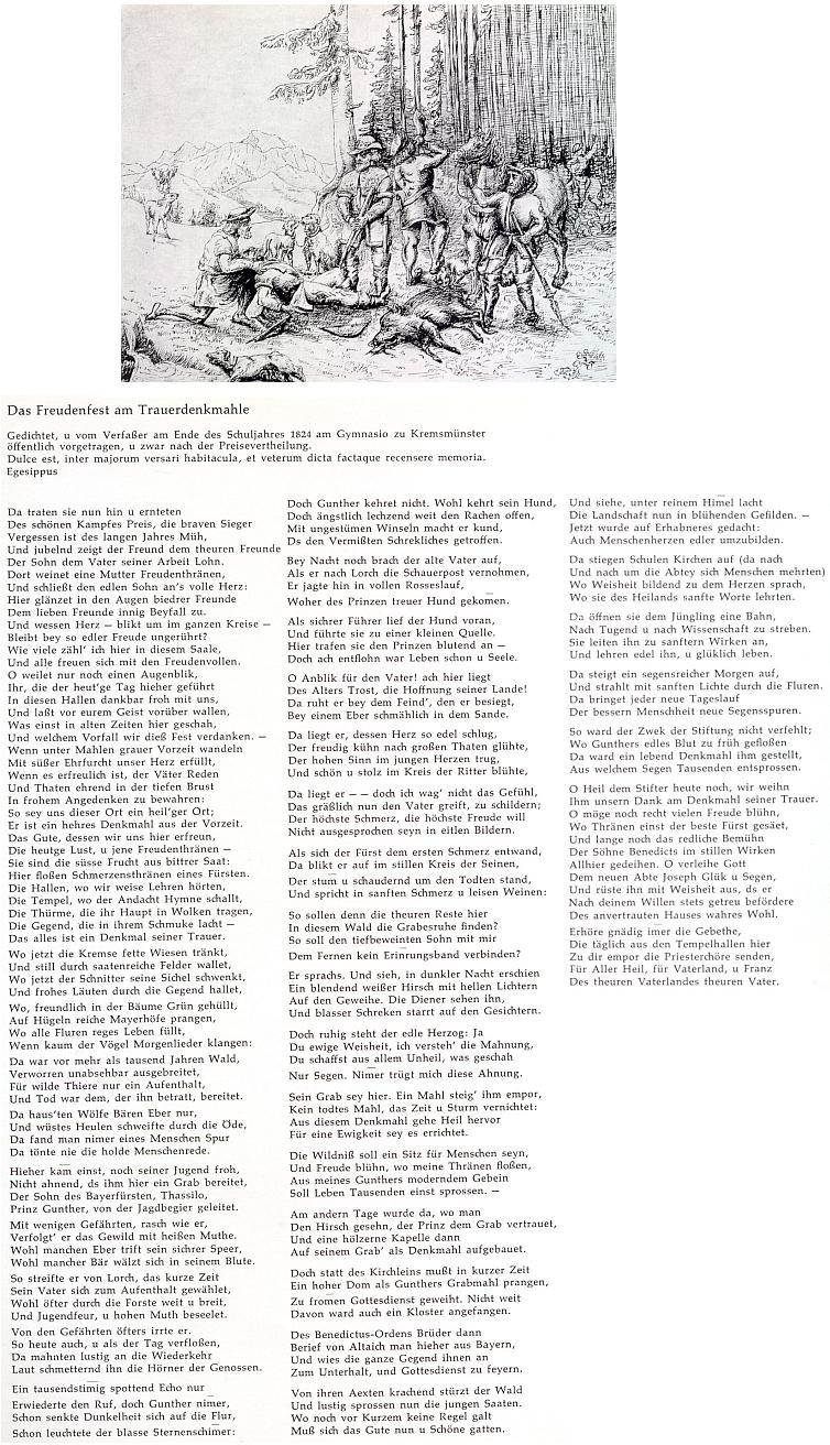 Vintířova smrt na kresbě Johanna Rinta, vlastně návrhu na reliéf pro klášter v Kremsmünster a dlouhá báseň mladičkého Adalberta Stiftera na stejné téma, jak ji veřejně přednesl na konci školního roku 1824 při rozdílení cen žáků tamního gymnázia
