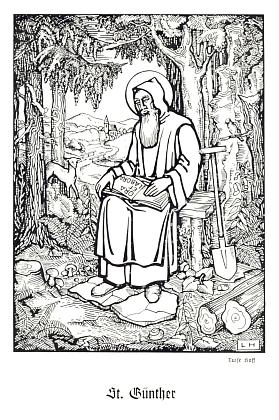 Obálka a frontispis s kresbou Luise Albrecht-Hoffové (1874-1952) jeho textu o sv. Vintíři, vydaného roku 1940 veVimperku nákladem a tiskem Steinbrenerovým