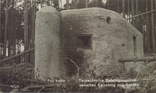 Československé řadové opevnění mezi Chvalšinami a Křenovem na pohlednicích z doby nacizmu na snímcích ateliéru Seidel