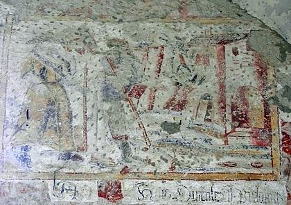 Detail nástěnné malby z 1. čtvrtiny 14.století z kostela sv.Mikuláše v Boleticích