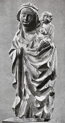 Socha Panny Marie s Ježíškem z doby kolem roku 1440, která se zdávna zachovala vboletickém kostele