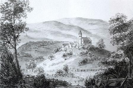 Kostel sv. Mikuláše, fara a škola v Boleticích na kresbě z doby kolem roku 1821
