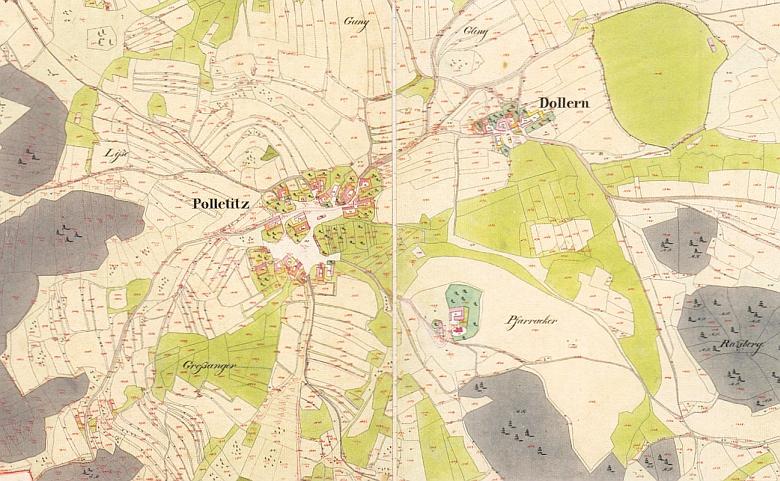 Boletice a Dolany na mapě stabilního katastru ze druhé čtvrtiny 19. století, kde je dobře patrný odstup mezi vlastní vsí a kostelním okrskem