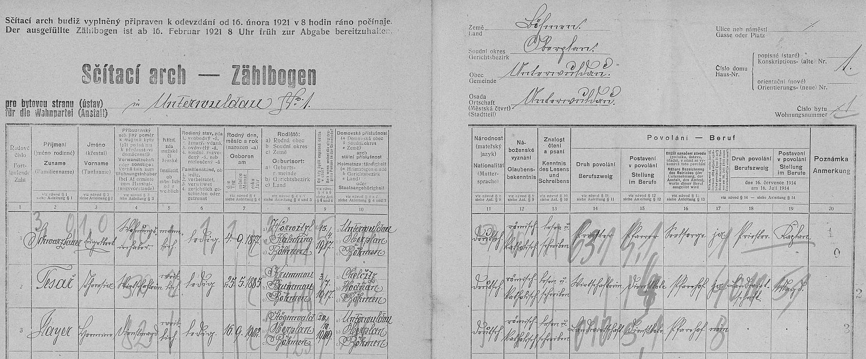 Arch sčítání lidu z roku 1921 pro dům čp. 1 v Dolní Vltavici, kde tehdy působil jako farář a bydlel tu s hospodyní Tesařovou i služkou Mayerovou, všichni uvedeni s mateřskou řečí (národností) německou