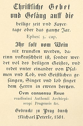 Titulní list sborníku modliteb a písní (1581) skoledou In natali Domini