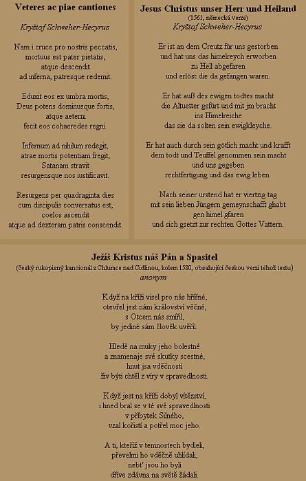 Jeden z dalších jeho německých písňových textů i s latinskou ačeskou verzí