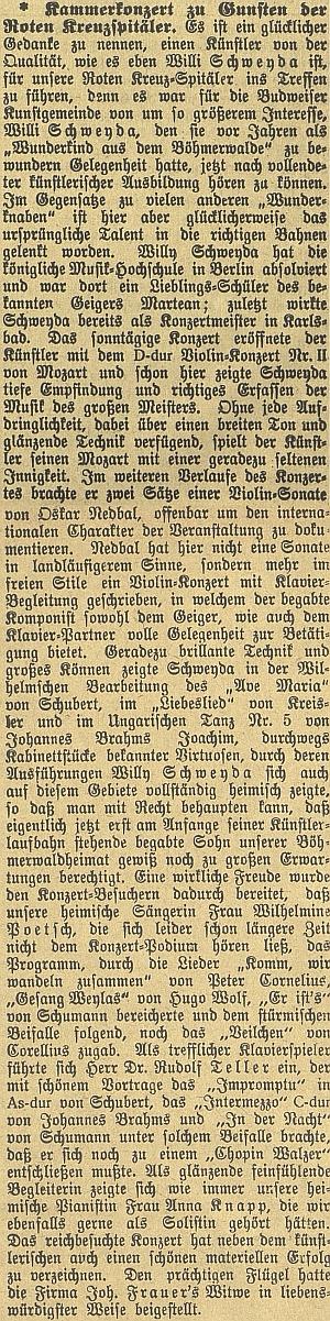 """Tady českobudějovický německý list obsáhle referuje o Sweydově válečném koncertu ve prospěch Červeného kříže a připomíná, že se o houslistovi před lety hovořilo jako o """"zázračném dítěti ze Šumavy"""""""