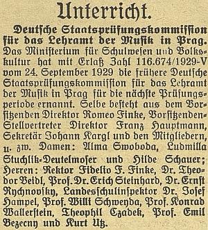 Podle této zprávy z roku 1929 byl jmenován do německé státní zkušební komise pro učitele hudební výchovy rozhodnutím ministerstva kultury a školství