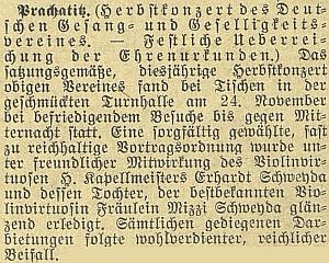 Z úvodní pasáže referátu o prachatickém podzimním koncertu německého pěveckého a hudebního spolku vysvítá, že vedle otce kapelníka a učitele hudby byla i Willyho sestra Mizzi (Marie) houslovou virtuóskou