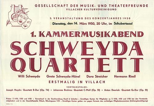 Plakát (1950) na koncert Schweydova kvarteta v Schubertově sále korutanského města Villach