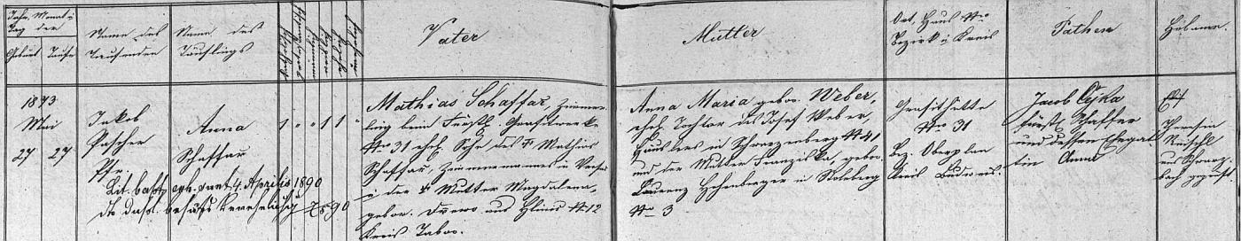 Záznam o narození matčině v křestní matrice farní obce Černá v Pošumaví - tuhové doly