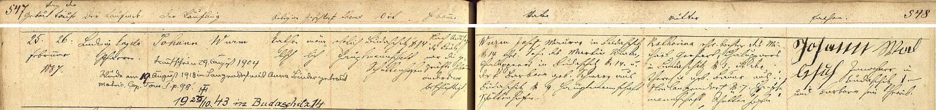 Záznam křestní matriky farní obce Dlouhá Ves o narození otcově s dodatečným přípisem o svatbě v roce 1920