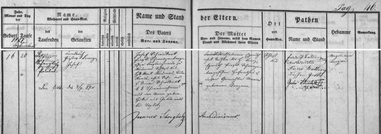 Záznam českokrumlovské křestní matriky o jeho narození 16. září roku 1857 a křtu čtyři dny nato) jmény Friedrich Gustav Franz Josef - otec Josef Schwickert byl knížecím schwarcenberským lesním inženýrem a syn se mu narodil nazámku čp. 1 (sám byl pak synem Simona Schwickerta, c.k. výběrčího u brány a jeho ženy Anny, roz. Hika zPetrovic /Peterswald/ u Teplic), matka Wilhelmina, roz. Eymuthová, byla dcerou knížecího schwarcenberského dvorníhorady Franze Eymutha a jeho manželky Marie, roz. Sorgnerové