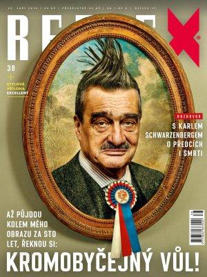 """Obálka časopisu Reflex ze září """"osmičkového roku 2018"""" nevyžaduje komentáře, snad jen, že sebeironie je v Čechách věru vzácným kořením"""