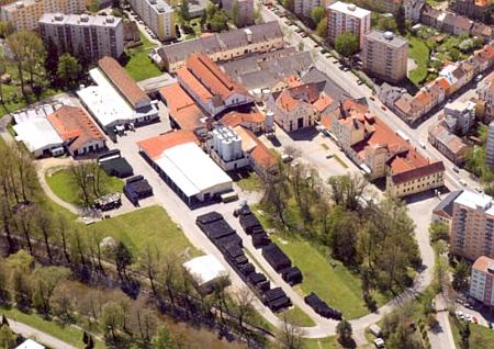 ... a letecký snímek pivovaru Samson z roku 2012