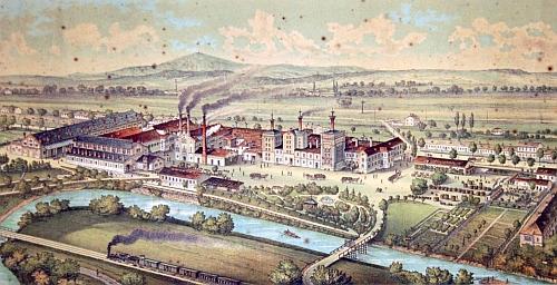 Pohled na českobudějovický měšťanský pivovar z konce 19. století...