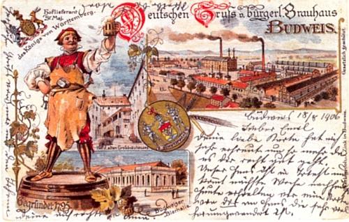 Německý pozdrav z budějovického měšťanského pivovaru na staré pohlednici