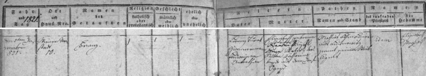 Záznam českobudějovické křestní matriky o narození jeho otce v městském domě čp. 260 na dnešním náměstí Přemysla Otakara II.