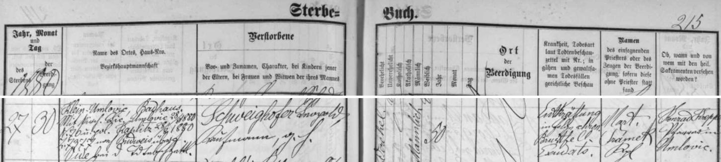 Záznam českobudějovické úmrtní matriky o skonu jeho otce v lázních Omlenička 27. srpna 1880 v nedožitých padesáti letech věku