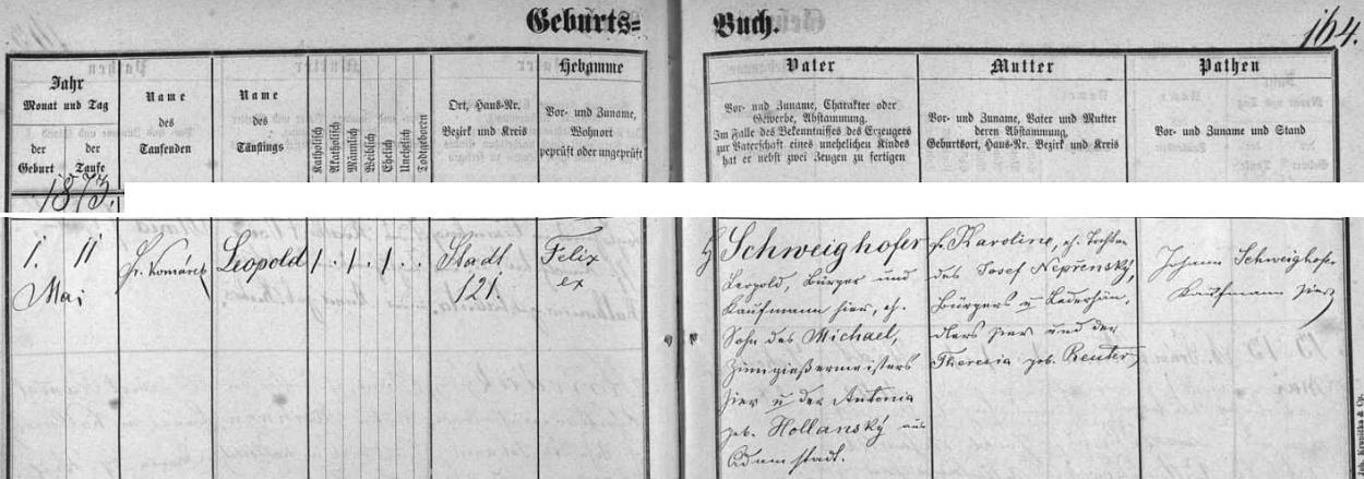 Záznam o jeho narození 1. května roku 1873 v českobudějovické křestní matrice