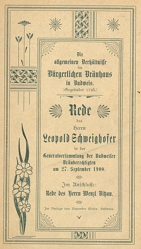 Obálka (1900) brožury s jeho projevem