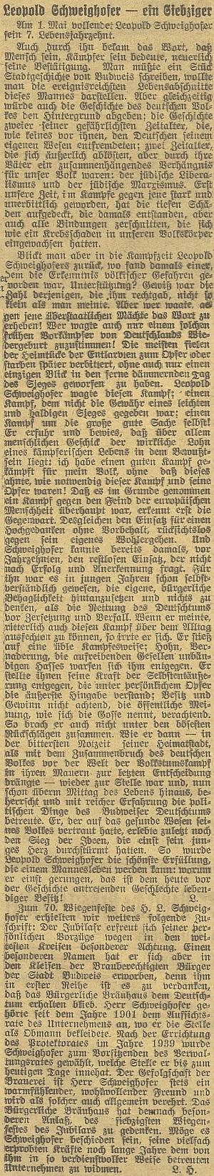 Článek k jeho sedmdesátinám v budějovickém německém listu