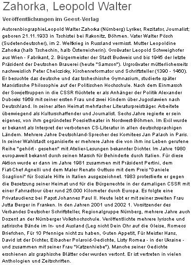 Autorský portrét Leopolda Waltera Zahorky na stránkách Geest Verlag