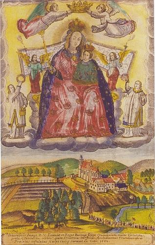 Kolorovaná grafika Panny Marie Kájovské zroku 1660 zachycuje starší podobu kostelní věže (viz i Johannes Kröll)