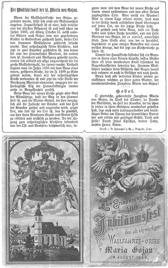 Rub a líc památečního svatého obrázku z Kájova ke čtyřstému jubileu slavného poutního místa, slavenému v létě roku 1888