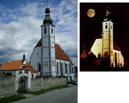Kájovský kostel za noci i za dne