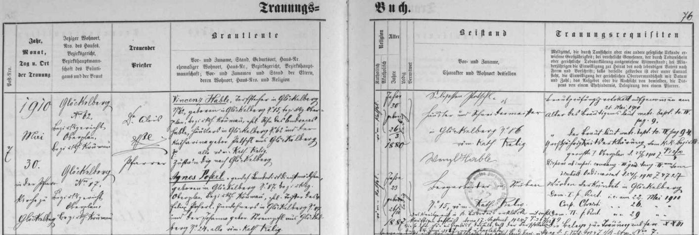 Záznam glöckelberské oddací matriky o svatbě Vinzenze Hableho a Agnes Poferlové
