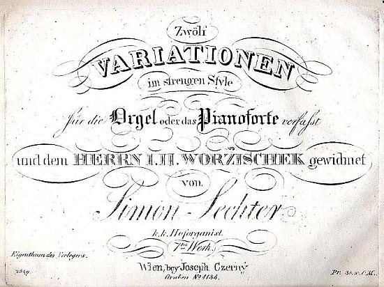 Titulní list jedné z jeho skladeb, věnované Janu Václavu Voříškovi